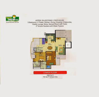 Emerald Court :: Floor Plans,Aster / Bluestone 1 Penthouse:-Lower Floor3 Bedrooms, 4 Toilets, Kitchen, Dining, Drawing, 2 Balconies, Family Lounge, Store, Servant Room with Toilet, 2 Terrace Gardens with Water FeatureArea - 2565 Sq Ft 700 Sq. Ft. Terrace Area