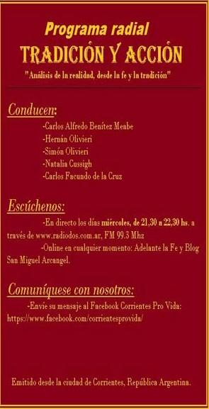 """Programa radial """"TRADICIÓN Y ACCIÓN"""""""