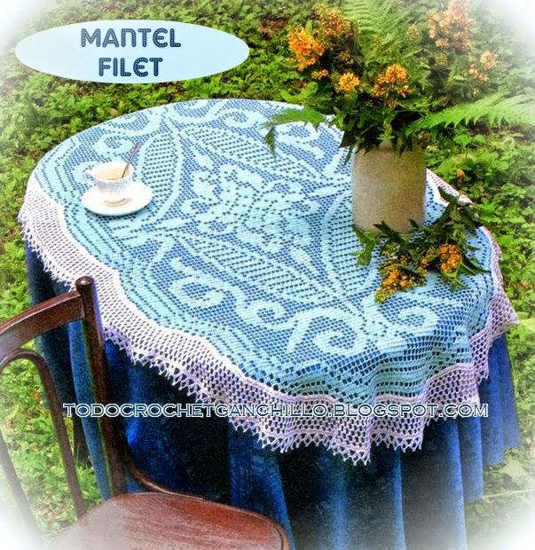 Patrones crochet de mantel vintage - técnica filet | Todo crochet