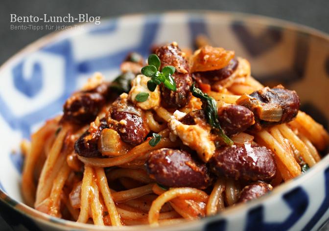 bento lunch blog rezept pasta mit kidneybohnen feta und kr uterbutter. Black Bedroom Furniture Sets. Home Design Ideas
