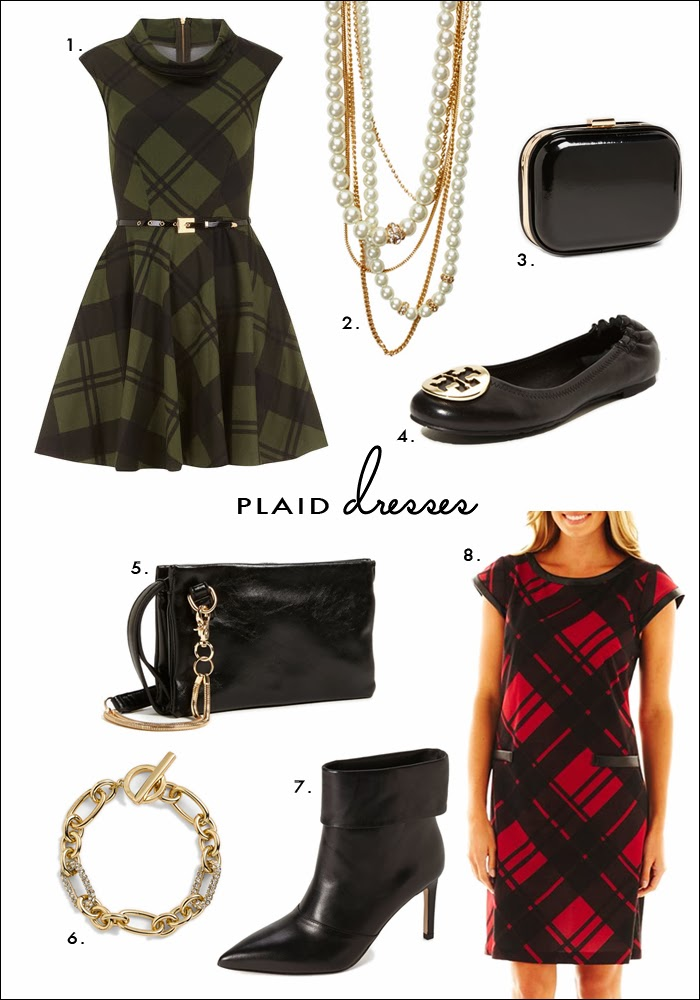plaid dress, budget friendly dresses, jcpenney plaid dress, dorothy perkins, belted dress, full skirt dress, vintage dresses, tory burch flats, clutch, pave bracelet, nordstrom, what to wear holiday party, what to wear new years