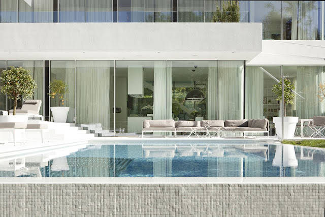 Blue modern swimming pool