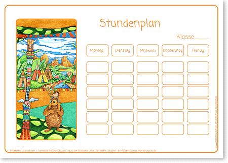 Stundenplan - INDIANER - Motiv: Indianerland - Format DIN A4 - Grundschule