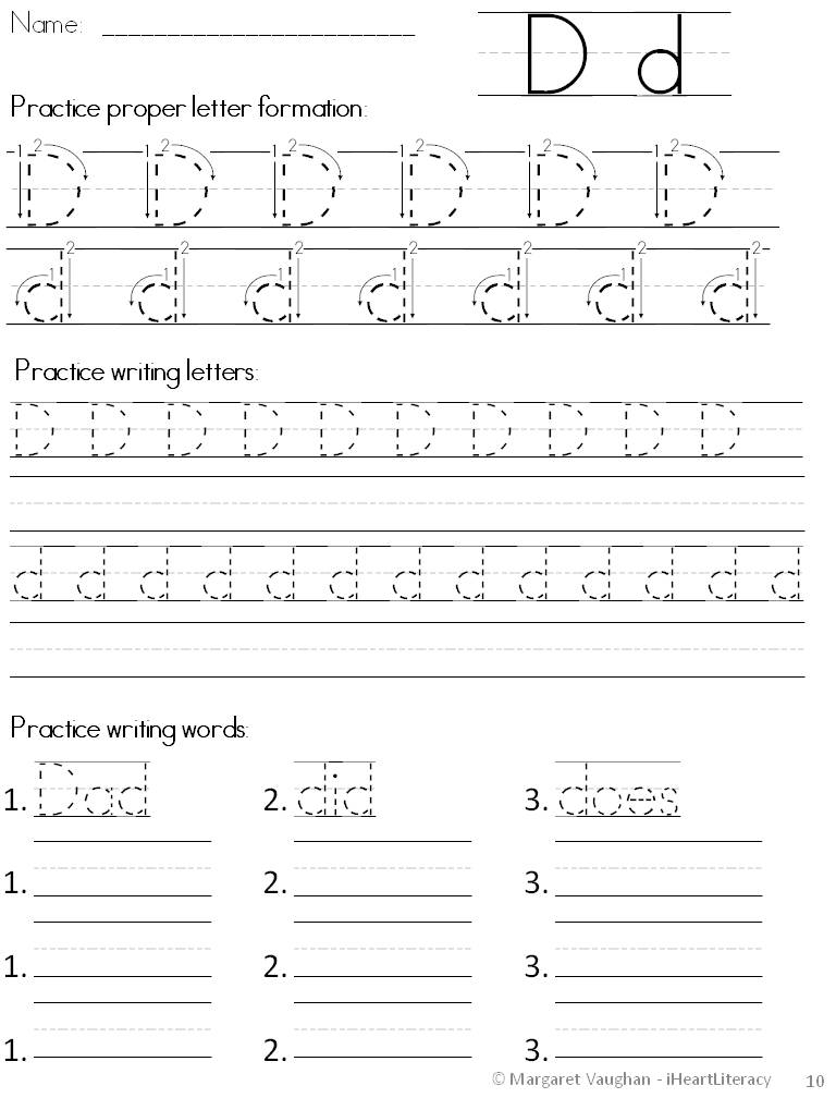 iHeartLiteracy TPT Handwriting Help Print DNealian and Cursive – D Nealian Cursive Handwriting Worksheets