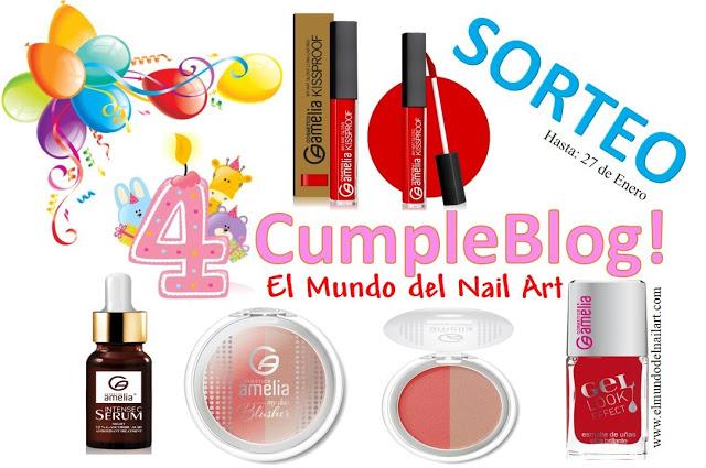 ¡¡¡Mi 4°CumpleBlog!!! ¡SORTEO NACIONAL con Amelia Cosmetics!
