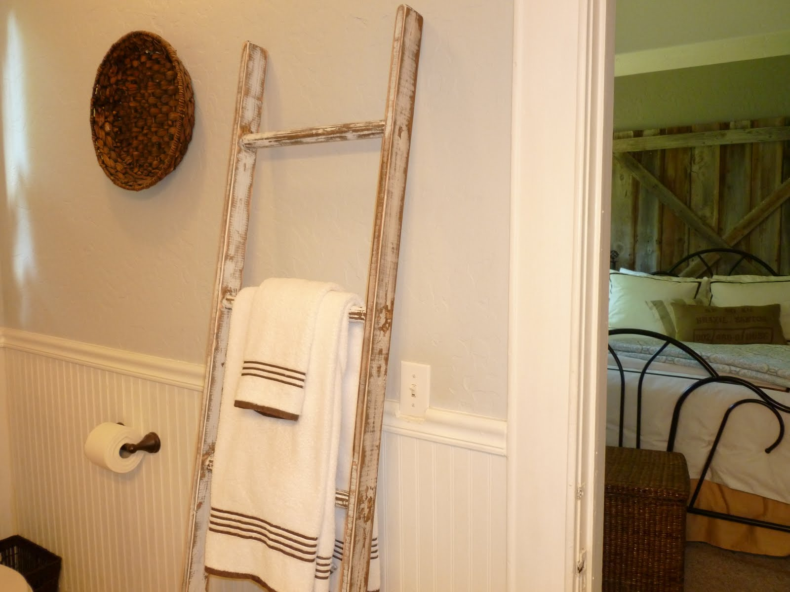 vintage ladder towel hanger