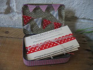 Vintage and Homemade DIY Business Cards and Card Holder