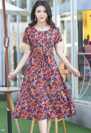 New 2018 20-Design Sweet Floral Plus Size Drawstring Waist Smooth Short Cotton Dress