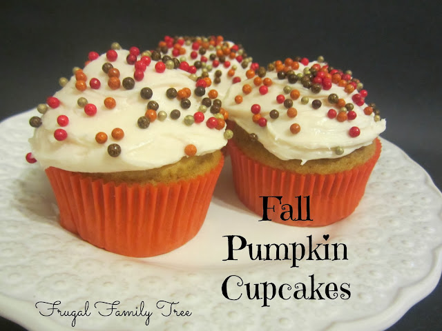 Pumpkin Cupcakes With Cream Cheese Frosting | Frugal Family Tree