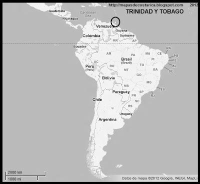 Sudamérica. Ubicación de TRINIDAD Y TOBAGO en Sudamérica, blanco y negro, Google Maps