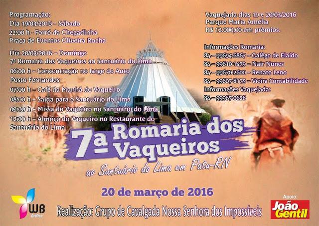 7ª ROMARIA DOS VAQUEIROS AO SANTUÁRIO DO LIMA EM PATU