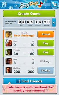 Screenshots of the SongPop for Android tablet, phone.