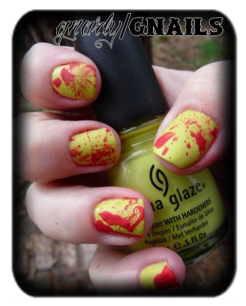 China Glaze Electric Pineapple Blood Splatter Manicure