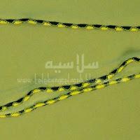 Telekung lycra hijau lumut corak curly di tepi