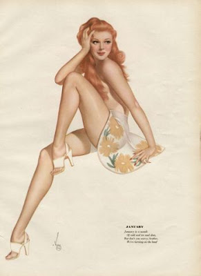 illustration pin up arlberto vargas calendrier sexy rousse