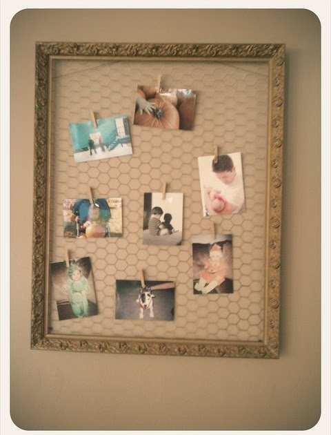 No Staple Chicken Wire Photo Frame Tutorial Vintage