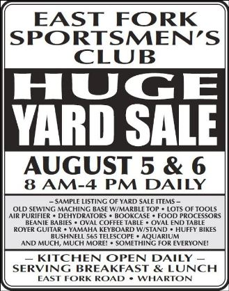 8-5/6  E. Fork Sportsmen's Yard Sale