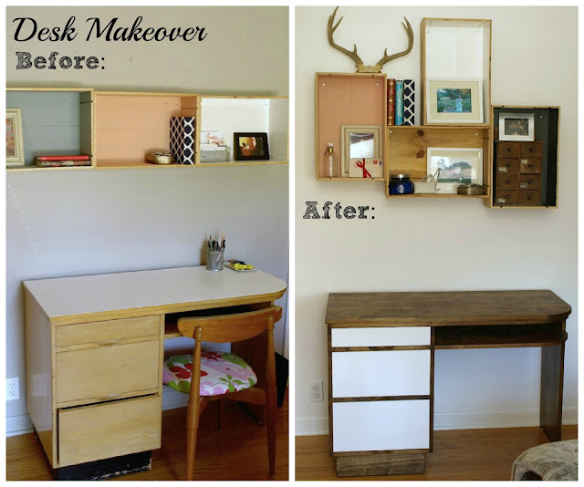 mid century desk makeover || This Little Miggy Stayed Home