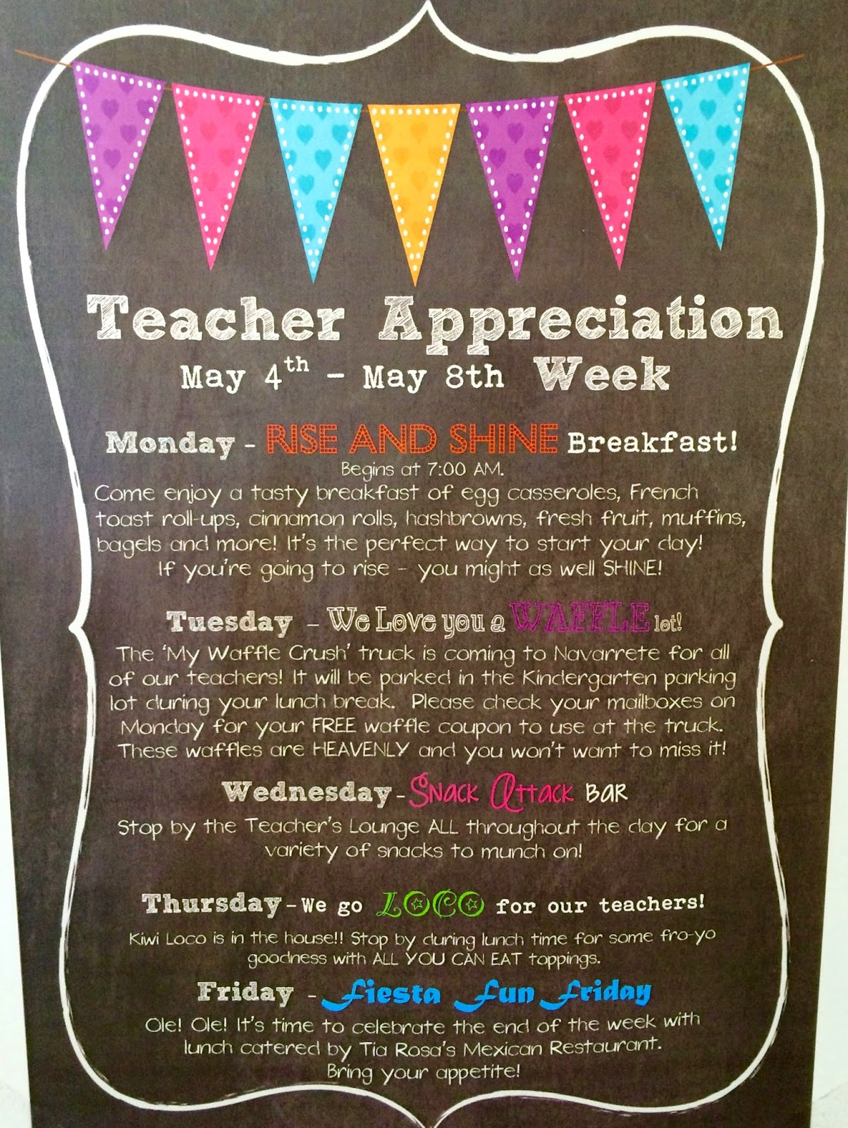 Classroom Ideas For Teacher Appreciation Week ~ Marci coombs teacher appreciation breakfast