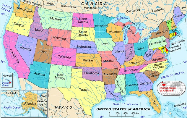 List Of States And Territories Of The United States Wikipedia - Us map with states and rivers