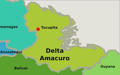 Mapa del estado Delta Amacuro Venezuela