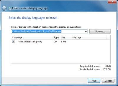 Cài đặt gói tiếng Việt trên Windows 7 và Windows 80