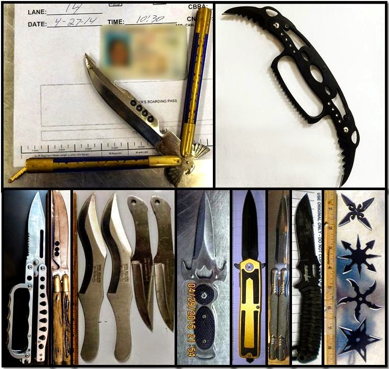 Clockwise from top left, these items were discovered in carry-on bags at SNA, SJU, DAL, BUR, SAN, OAK, SAN, LGA, HNL, and BHM.