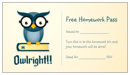no homework passes template
