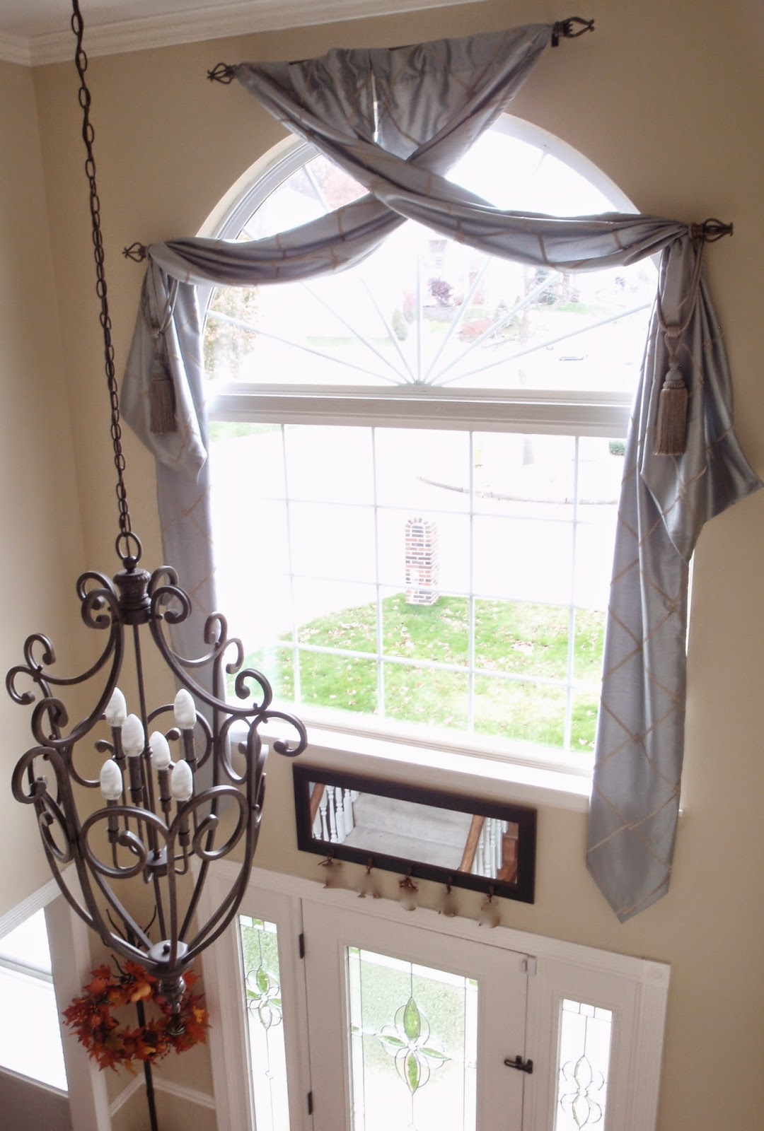 Two Story Foyer Window Treatment : Busy blonde on a budget ultra lux window treatment for