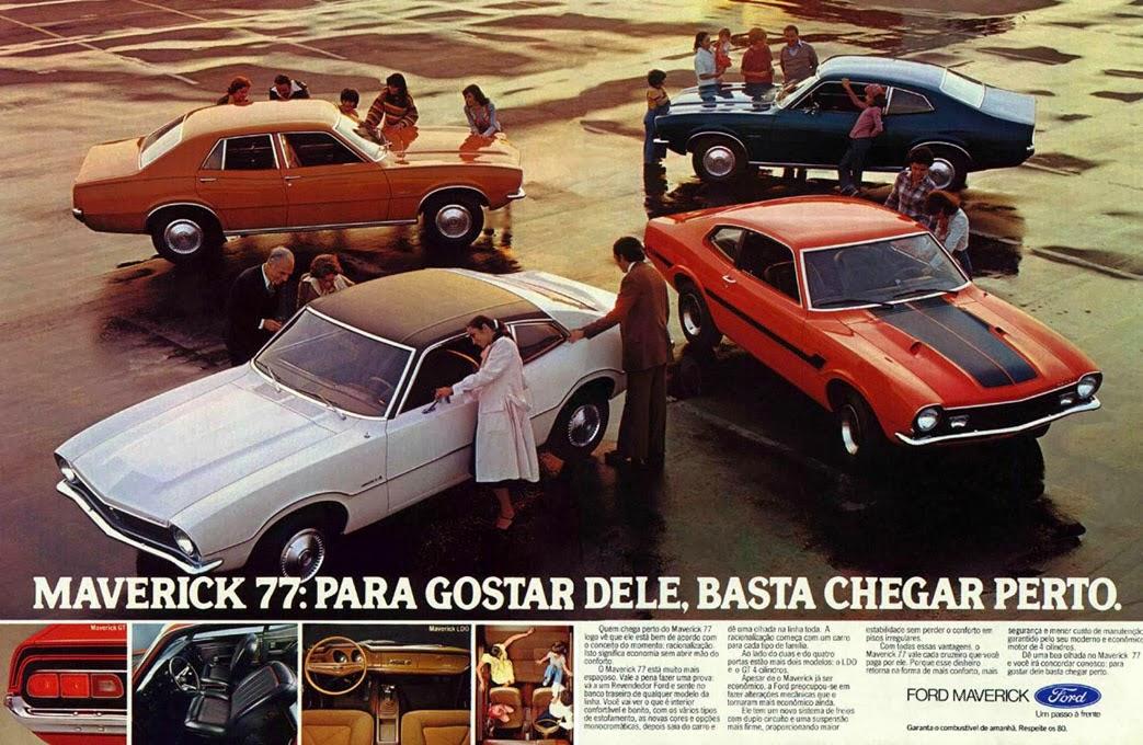 Propaganda do Ford Maverick em 1976. Apresentação da linha 77.
