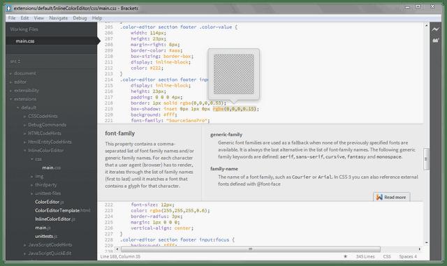 Brackets: open-source code editor