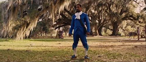 Django's fancy blue attire