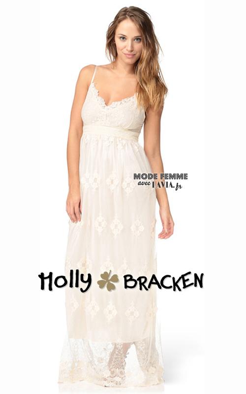 Robe longue blanche en dentelle Molly Bracken
