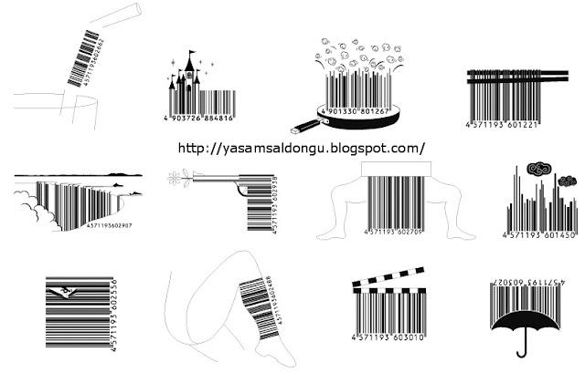 Barkod desenleri Şekilli Barkod Sanat karikatür patlamış mısır şemsiye film başlangıcı silah kale uçurum şelale