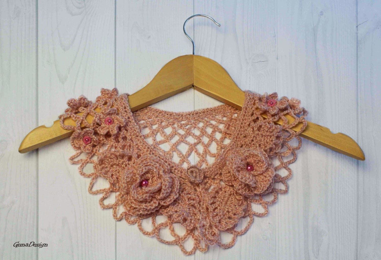 gunadesign guna andersone Peter Pan crochet collar pink roses