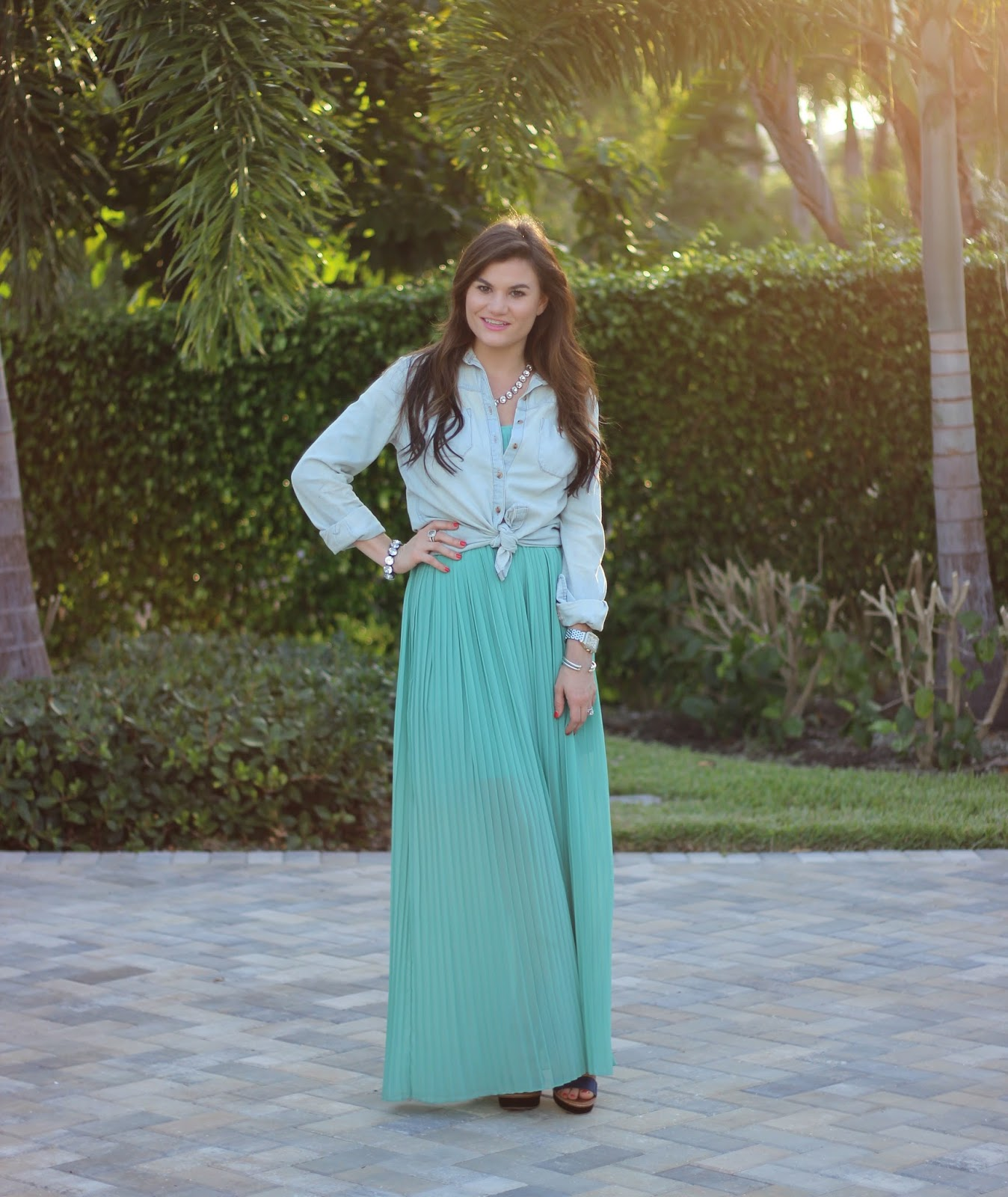 Alina Smith Pleated Maxi Dress and Chambray on The Sassy Gator blog