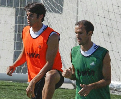 Kaka and Carvalho training with Real Madrid