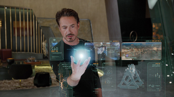 Juxtopia xAPI-AR Program. Photo of Iron Man using Augmented Reality.