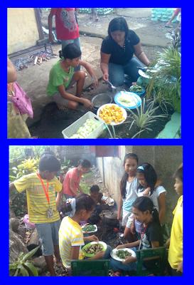 Parents, children Cooking