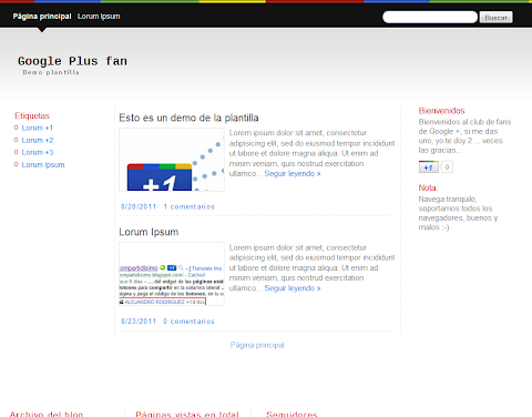 Google Plus Fan Blogger Theme
