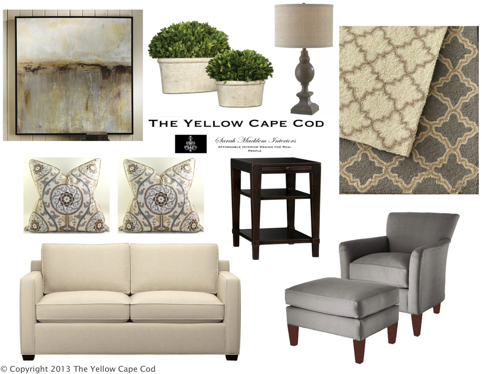 The Yellow Cape Cod Clean And CalmGray Tan Living Room