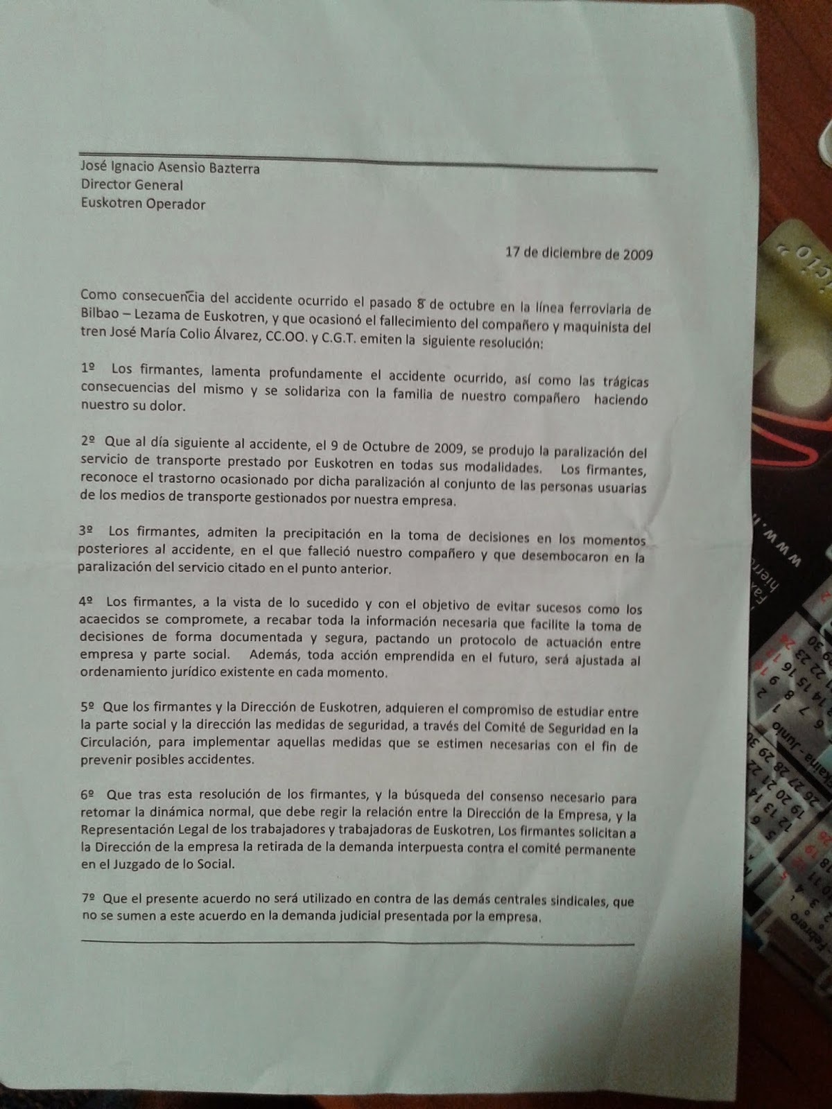 Seccion Sindical en Euskotren: octubre 2014