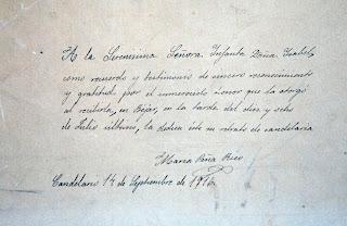 Manuscrito de Maria Peña dedicado a la infanta isabel en 1916
