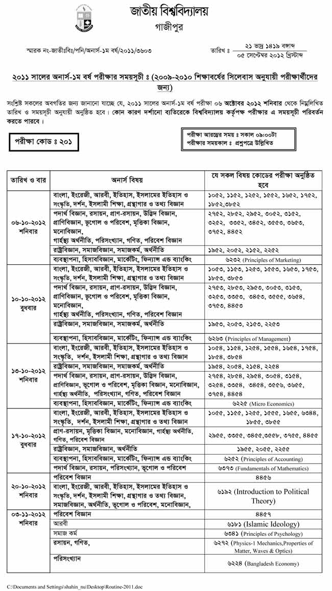 Honours 1st Year Exam Routine of  National University