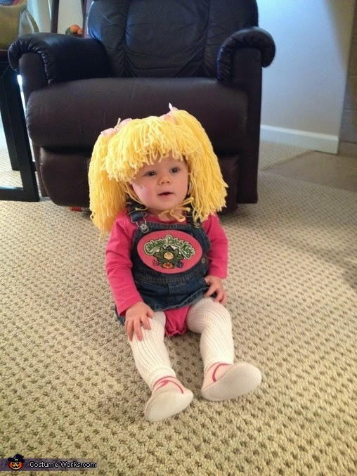 cabbage patch kid all this clever costume requires is a pink shirt with a denim dress and a wig