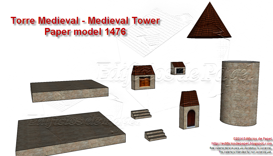 Pieces of the Medieval Tower Paper model