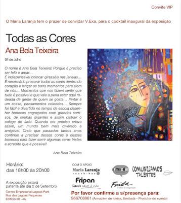 """""""Todas as Cores"""" - Exposição de Ana Bela Teixeira inaugura dia 4"""