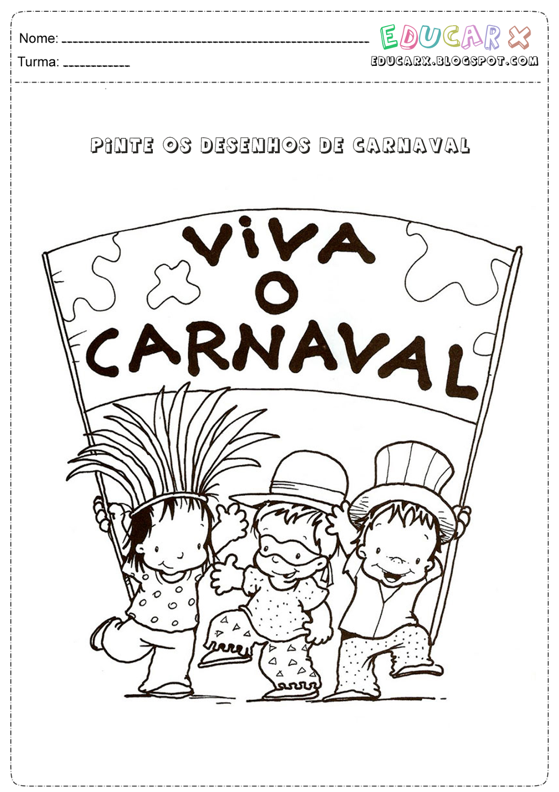 Desenhos de carnaval para colorir