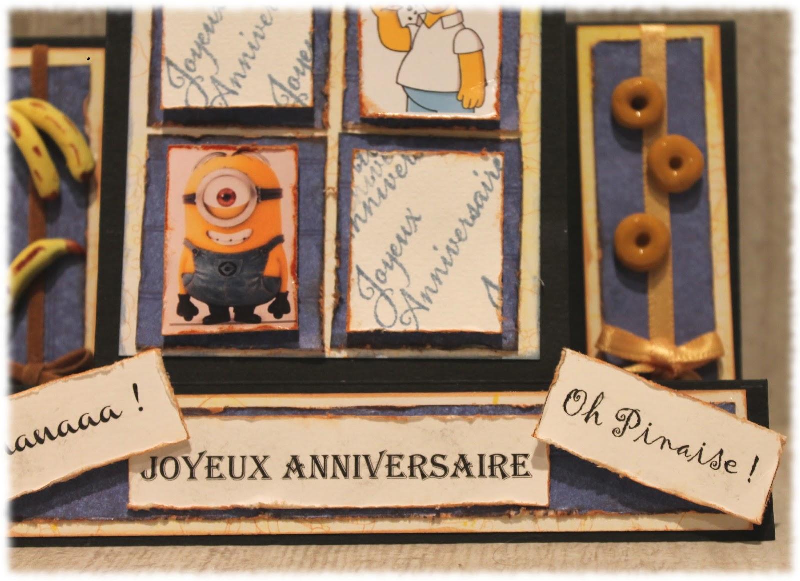 L 39 atelier de natalie carte d 39 anniversaire simpson et minion - Anniversaire simpson ...