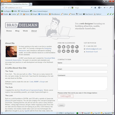 Screen shot of http://braddielman.com/about.
